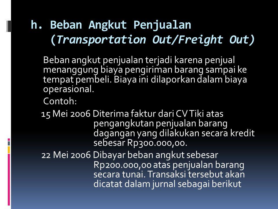 h. Beban Angkut Penjualan (Transportation Out/Freight Out)