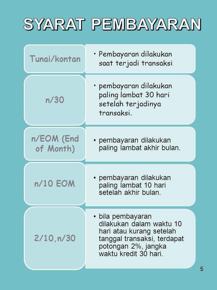 SYARAT PEMBAYARAN Tunai/kontan n/30 n/EOM (End of Month) n/10 EOM