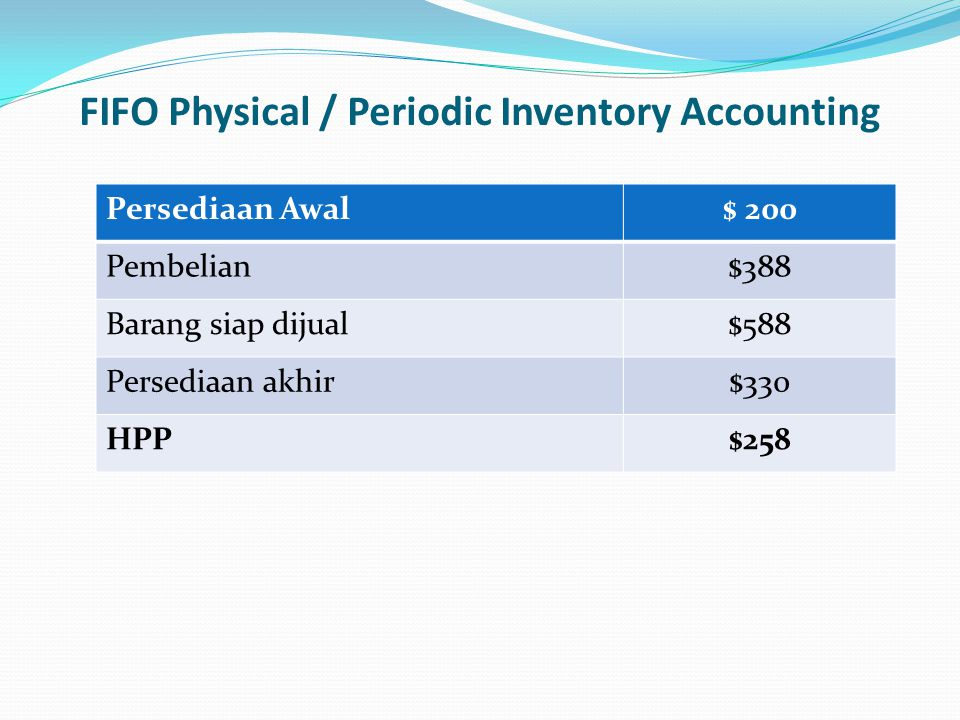 FIFO Physical / Periodic Inventory Accounting
