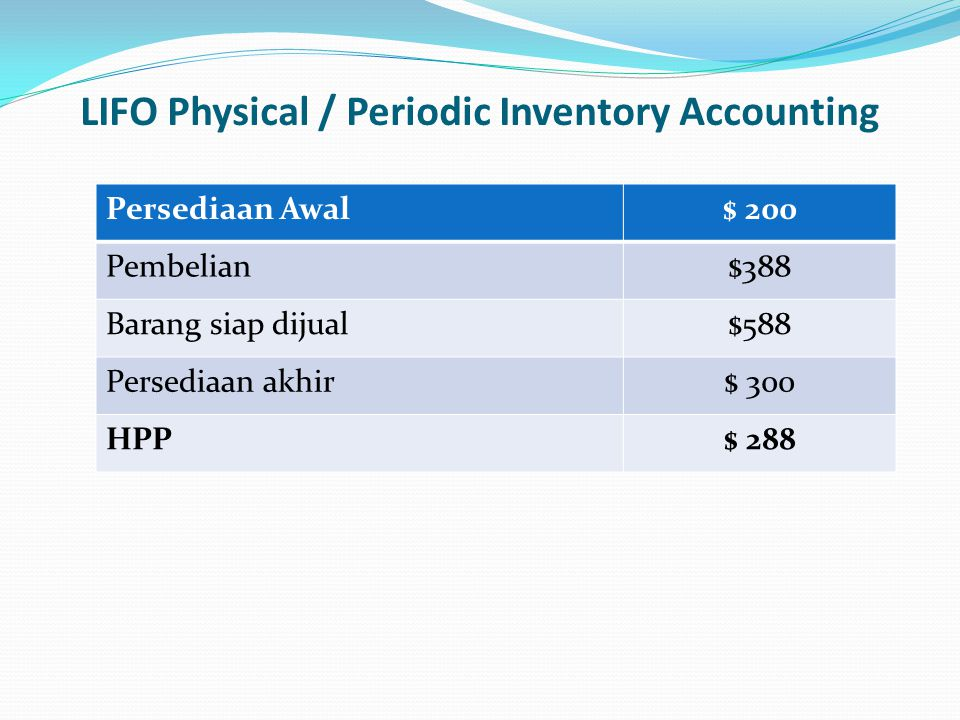 LIFO Physical / Periodic Inventory Accounting