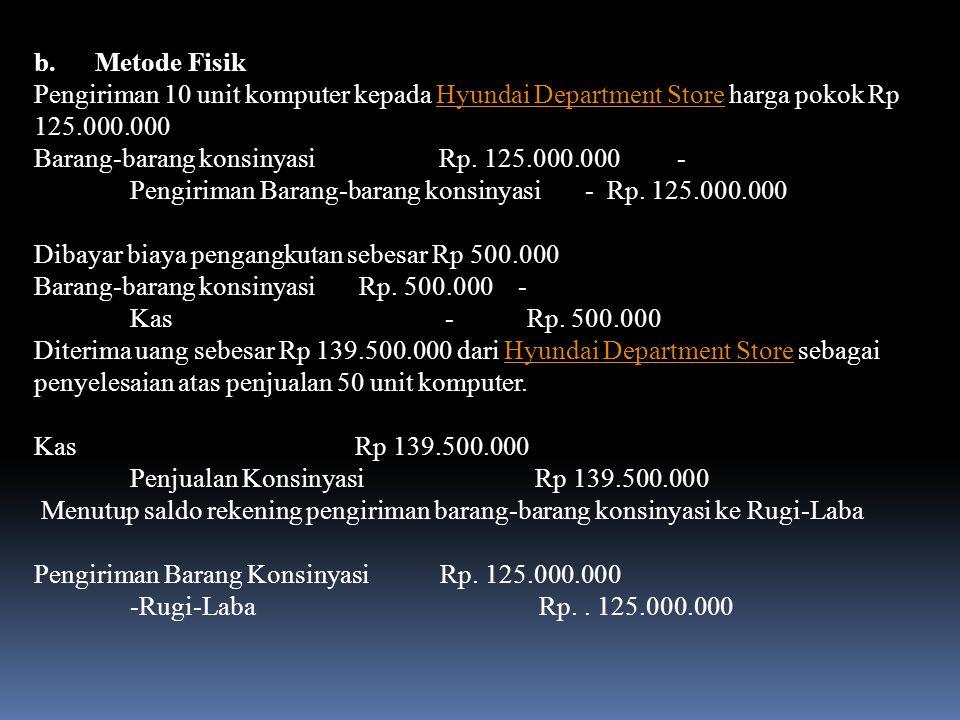 b. Metode Fisik Pengiriman 10 unit komputer kepada Hyundai Department Store harga pokok Rp 125.000.000.
