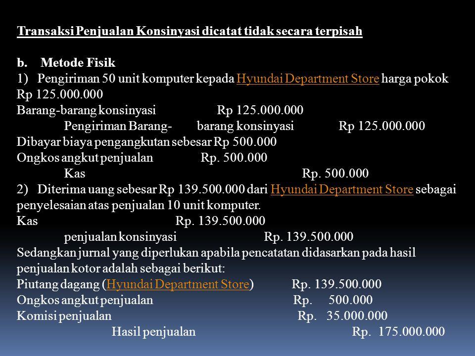 Transaksi Penjualan Konsinyasi dicatat tidak secara terpisah
