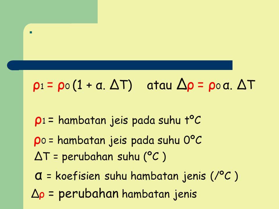 . ρ1 = ρ0 (1 + α. ∆T) atau ∆ρ = ρ0 α. ∆T