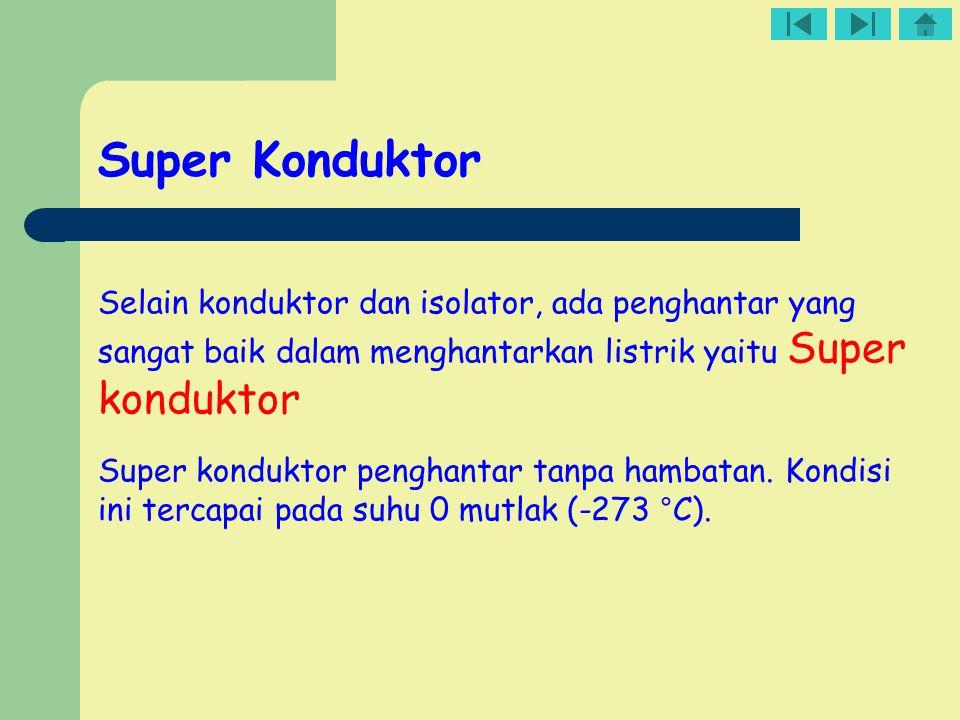 Super Konduktor Selain konduktor dan isolator, ada penghantar yang sangat baik dalam menghantarkan listrik yaitu Super konduktor.