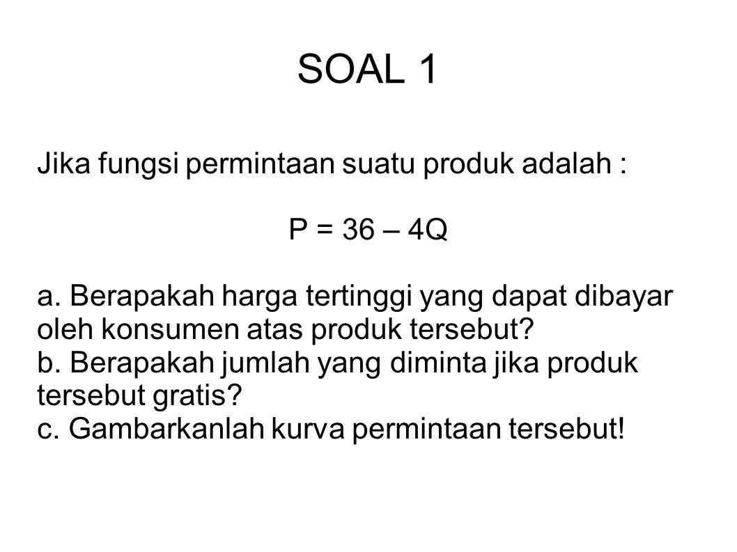 SOAL 1 Jika fungsi permintaan suatu produk adalah : P = 36 – 4Q