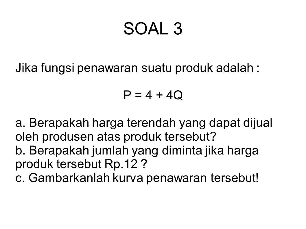 SOAL 3 Jika fungsi penawaran suatu produk adalah : P = 4 + 4Q