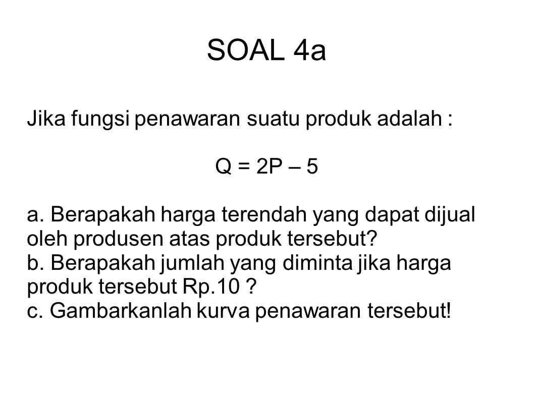 SOAL 4a Jika fungsi penawaran suatu produk adalah : Q = 2P – 5