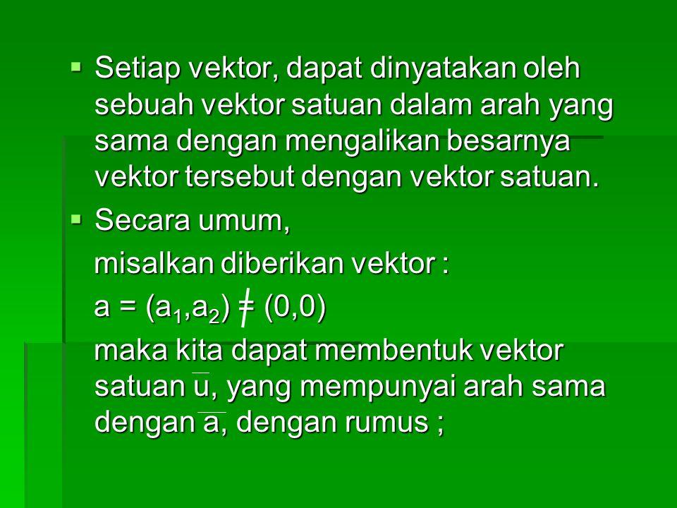 Setiap vektor, dapat dinyatakan oleh sebuah vektor satuan dalam arah yang sama dengan mengalikan besarnya vektor tersebut dengan vektor satuan.