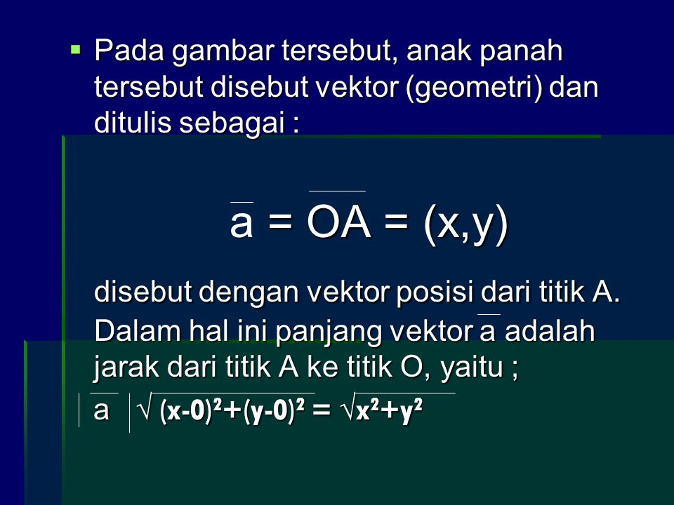 Pada gambar tersebut, anak panah tersebut disebut vektor (geometri) dan ditulis sebagai :