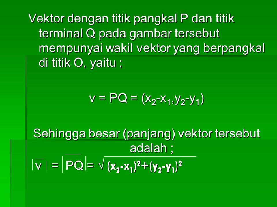 Sehingga besar (panjang) vektor tersebut adalah ;