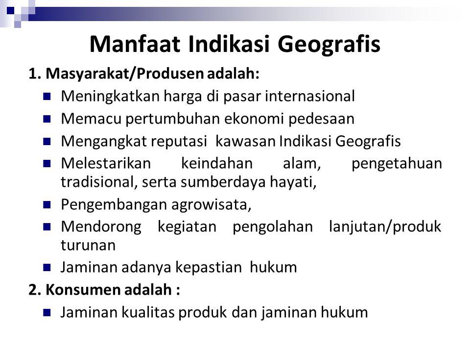 Manfaat Indikasi Geografis
