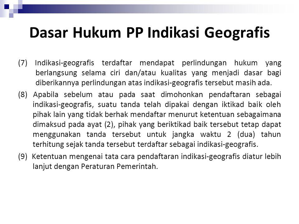 Dasar Hukum PP Indikasi Geografis