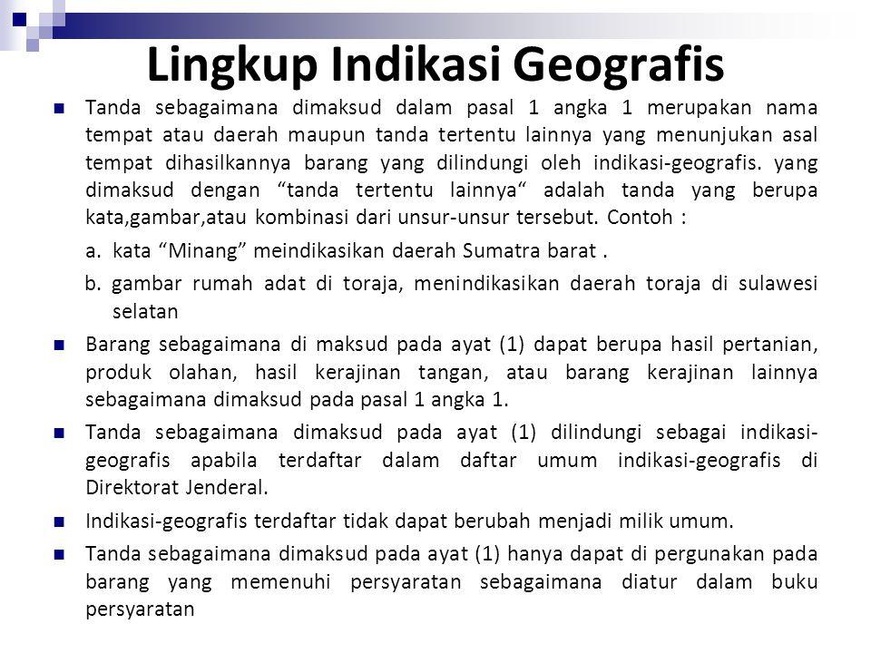 Lingkup Indikasi Geografis