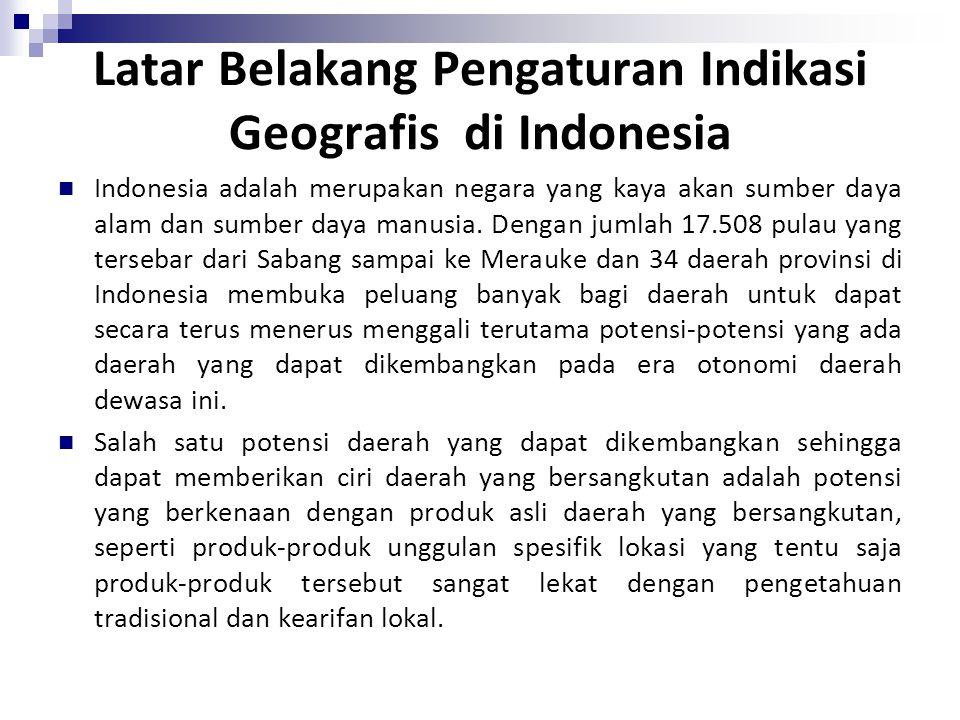 Latar Belakang Pengaturan Indikasi Geografis di Indonesia