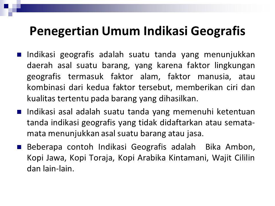 Penegertian Umum Indikasi Geografis