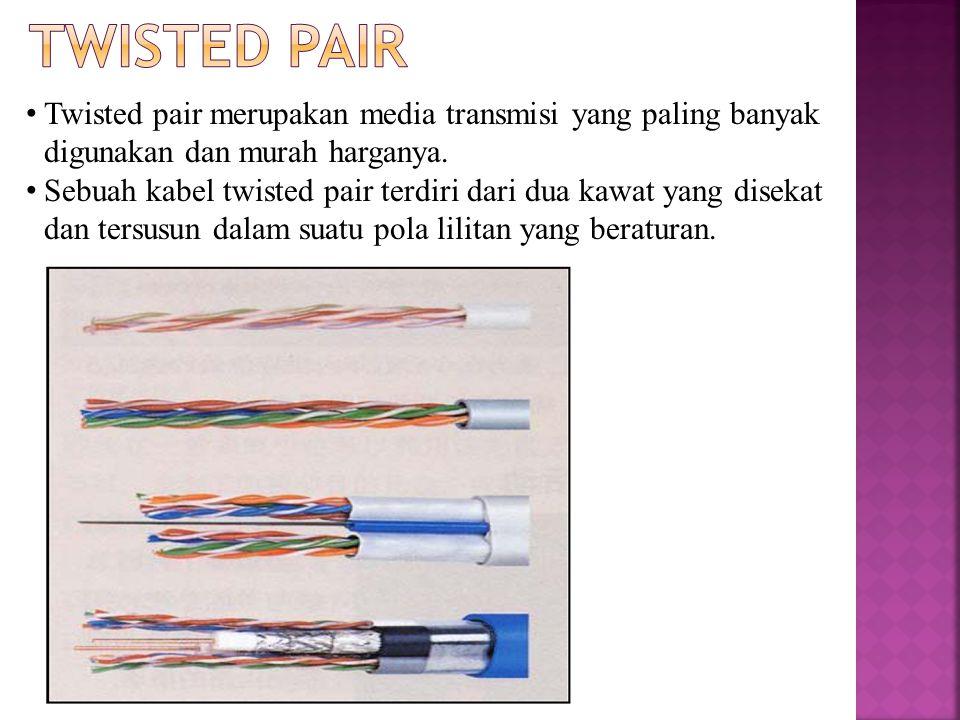 Twisted Pair Twisted pair merupakan media transmisi yang paling banyak digunakan dan murah harganya.