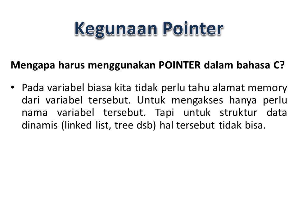 Kegunaan Pointer Mengapa harus menggunakan POINTER dalam bahasa C