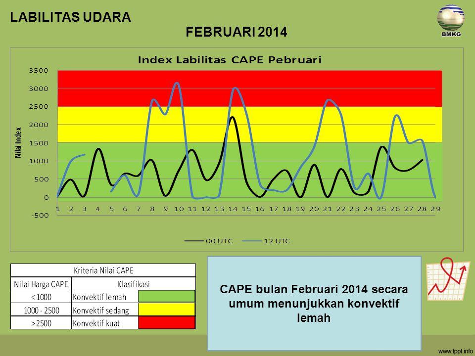 CAPE bulan Februari 2014 secara umum menunjukkan konvektif lemah