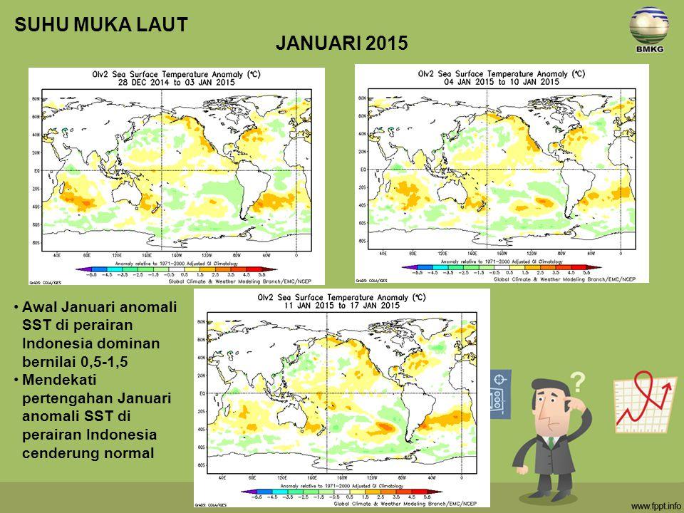 SUHU MUKA LAUT JANUARI 2015. Awal Januari anomali SST di perairan Indonesia dominan bernilai 0,5-1,5.