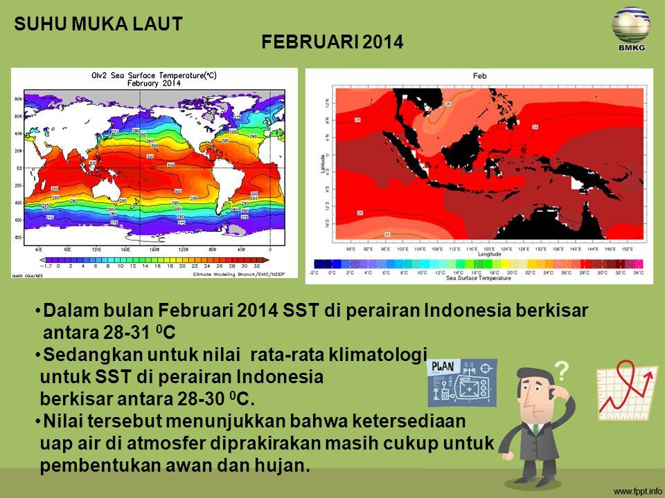 SUHU MUKA LAUT FEBRUARI 2014. Dalam bulan Februari 2014 SST di perairan Indonesia berkisar antara 28-31 0C.