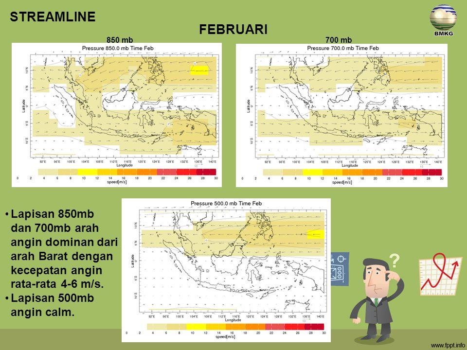STREAMLINE FEBRUARI. 850 mb. 700 mb. Lapisan 850mb dan 700mb arah angin dominan dari arah Barat dengan kecepatan angin rata-rata 4-6 m/s.