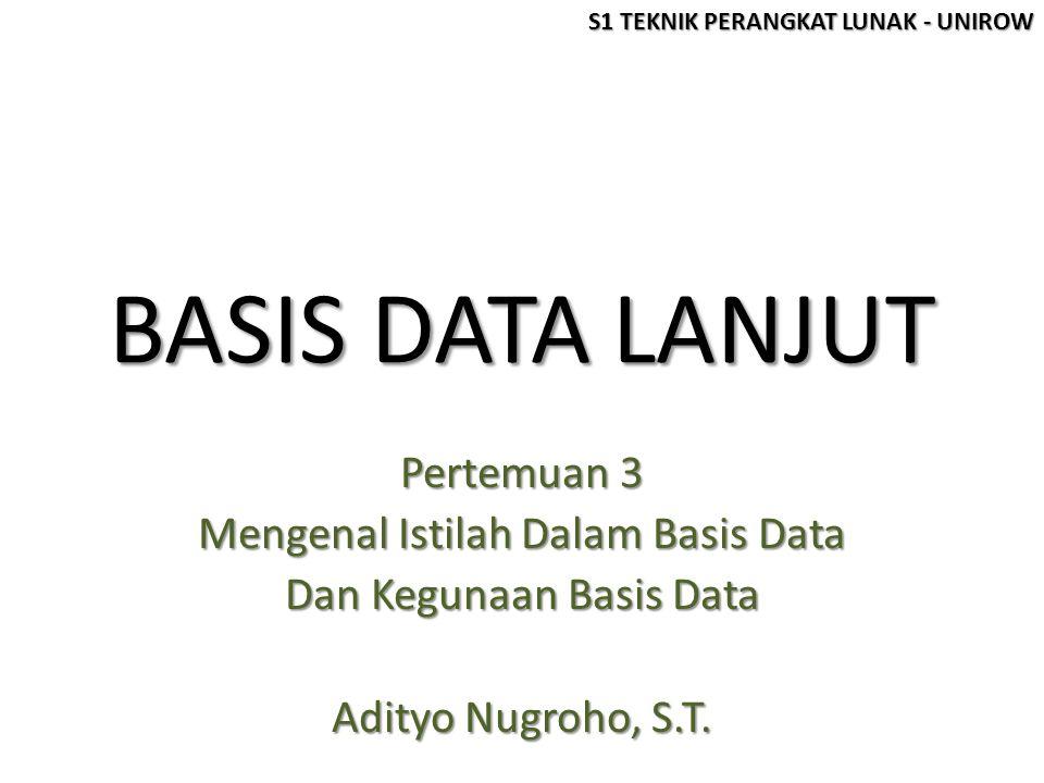 BASIS DATA LANJUT Pertemuan 3 Mengenal Istilah Dalam Basis Data