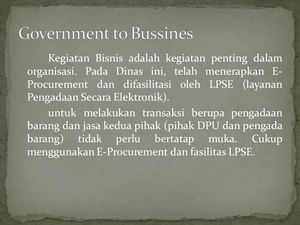 Government to Bussines