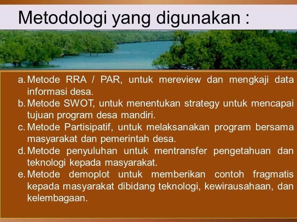 Metodologi yang digunakan :