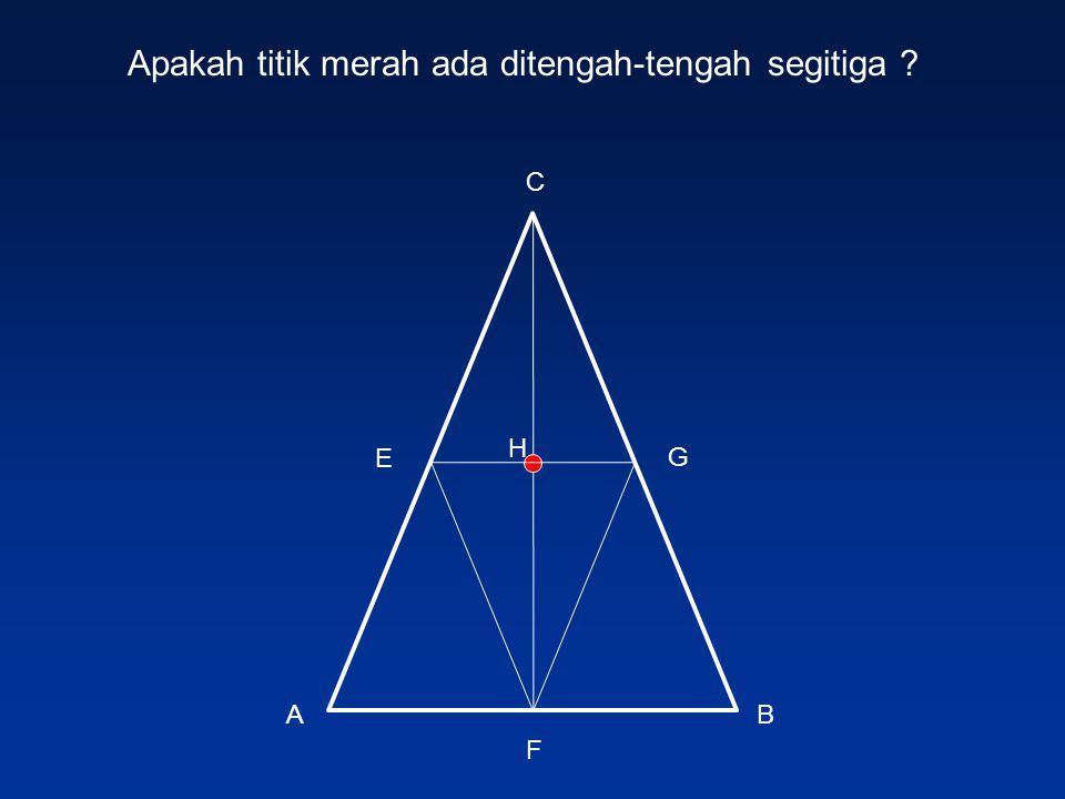 Apakah titik merah ada ditengah-tengah segitiga
