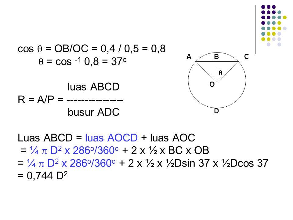 R = A/P = ---------------- busur ADC Luas ABCD = luas AOCD + luas AOC