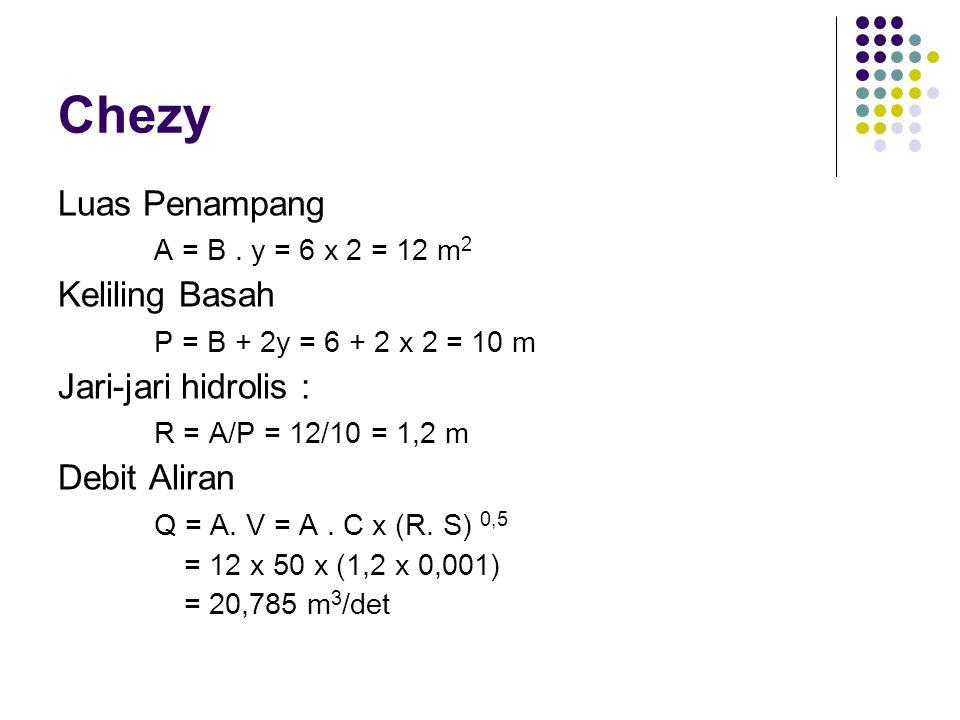Chezy Luas Penampang A = B . y = 6 x 2 = 12 m2 Keliling Basah