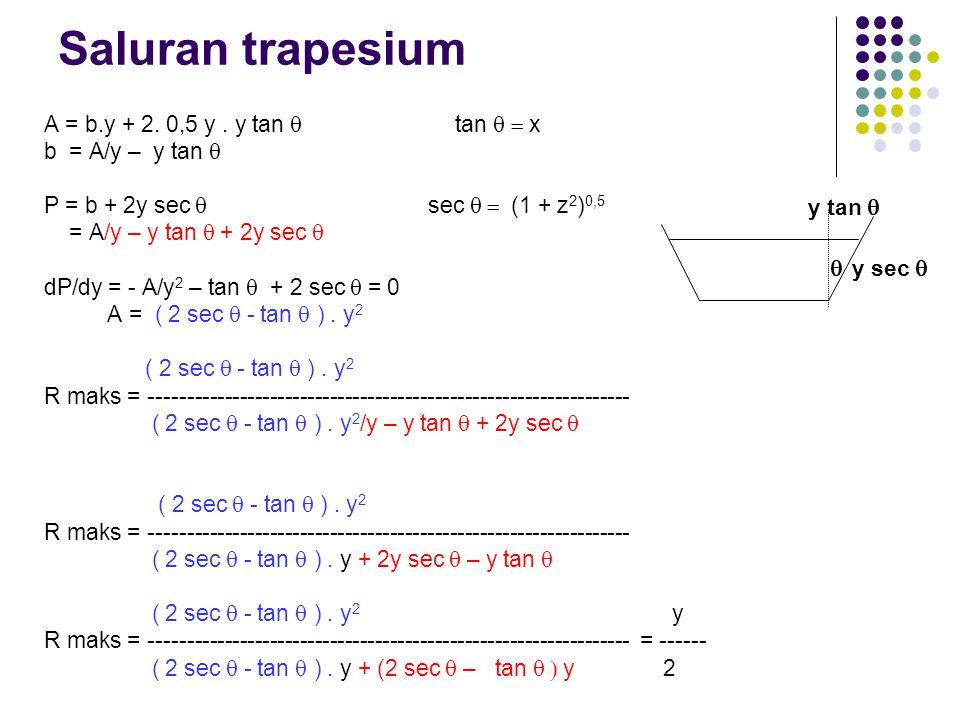 Saluran trapesium A = b.y + 2. 0,5 y . y tan q tan q = x