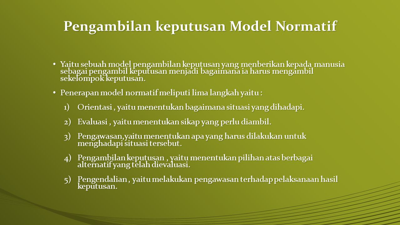 Pengambilan keputusan Model Normatif