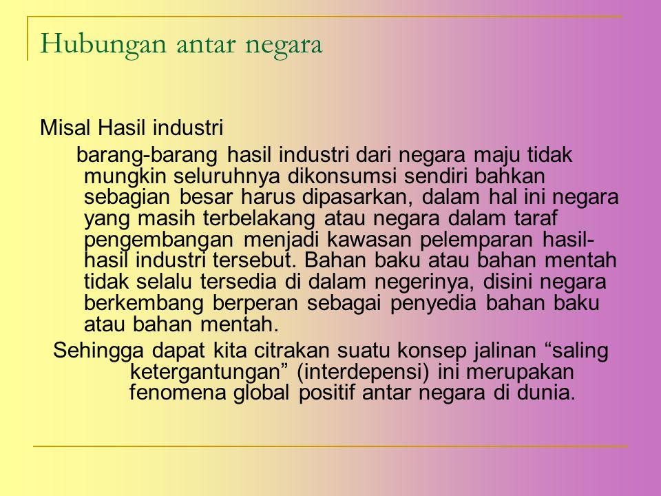 Hubungan antar negara Misal Hasil industri