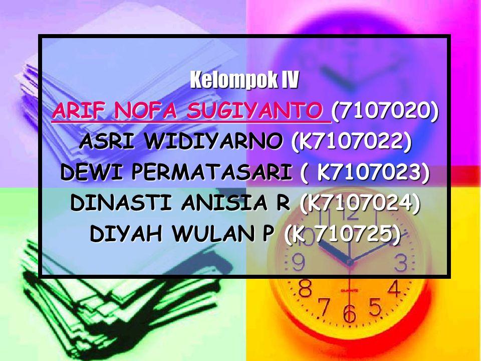 Kelompok IV ARIF NOFA SUGIYANTO (7107020) ASRI WIDIYARNO (K7107022) DEWI PERMATASARI ( K7107023) DINASTI ANISIA R (K7107024)