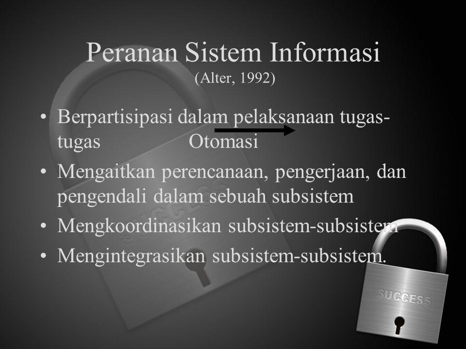 Peranan Sistem Informasi (Alter, 1992)
