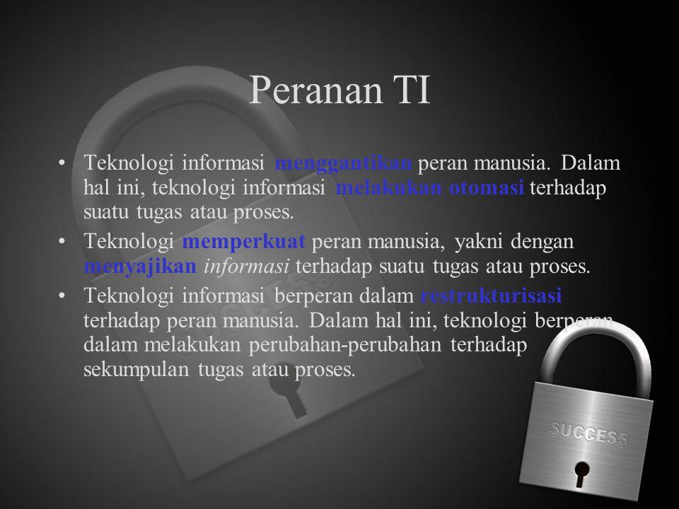 Peranan TI Teknologi informasi menggantikan peran manusia. Dalam hal ini, teknologi informasi melakukan otomasi terhadap suatu tugas atau proses.