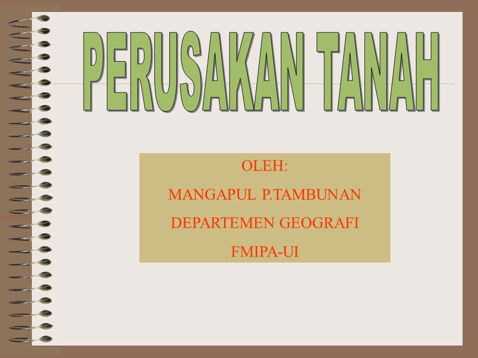 PERUSAKAN TANAH OLEH: MANGAPUL P.TAMBUNAN DEPARTEMEN GEOGRAFI FMIPA-UI