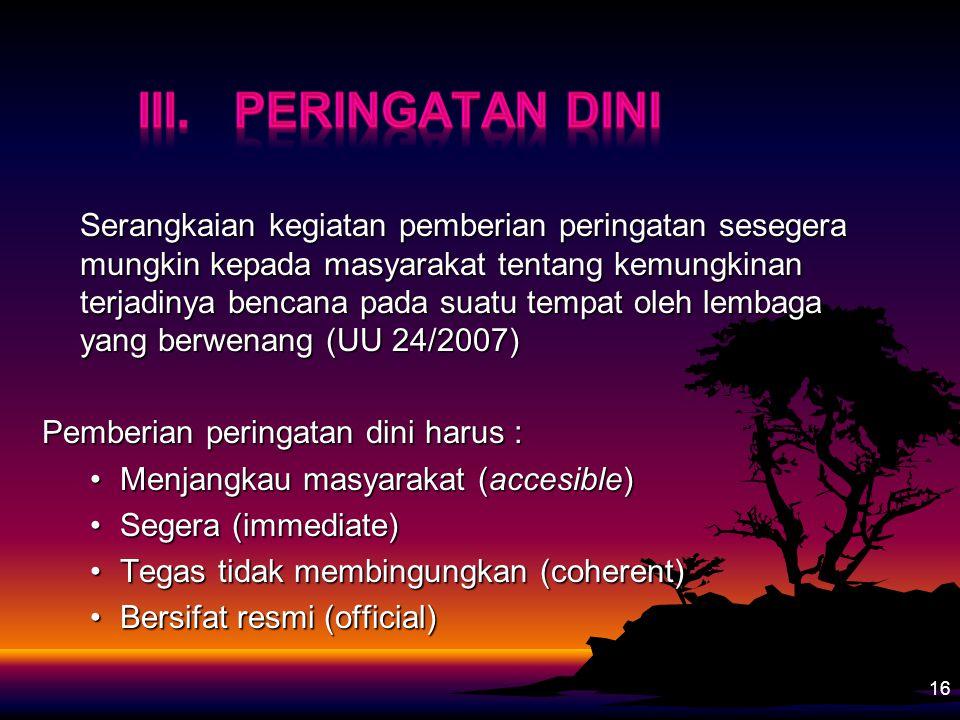 III. Peringatan Dini