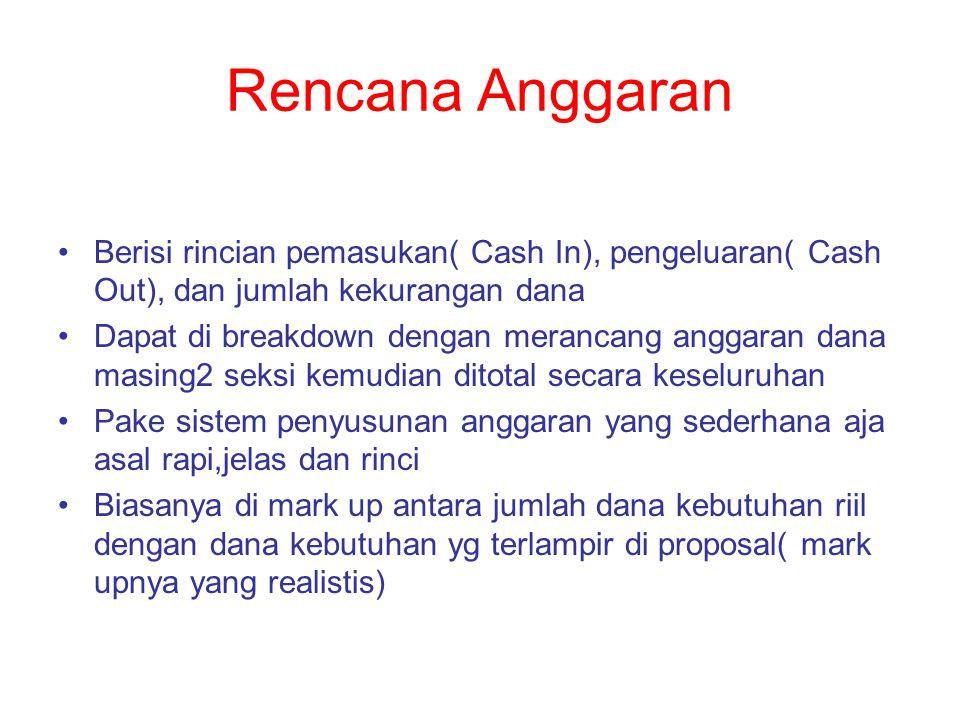 Rencana Anggaran Berisi rincian pemasukan( Cash In), pengeluaran( Cash Out), dan jumlah kekurangan dana.