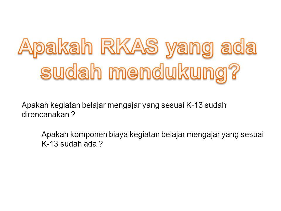 Apakah RKAS yang ada sudah mendukung