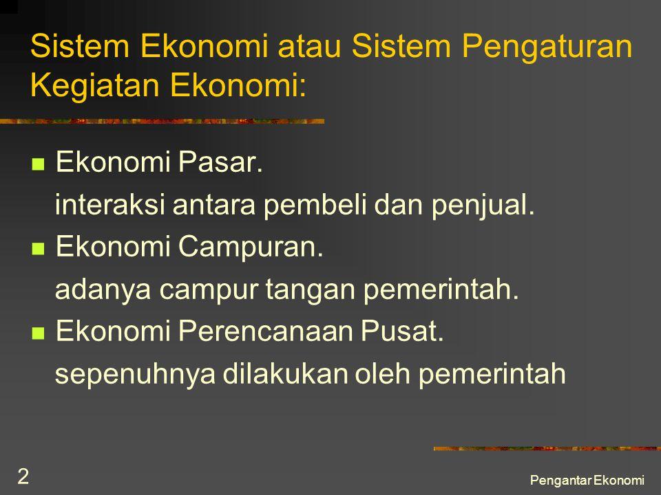 Sistem Ekonomi atau Sistem Pengaturan Kegiatan Ekonomi:
