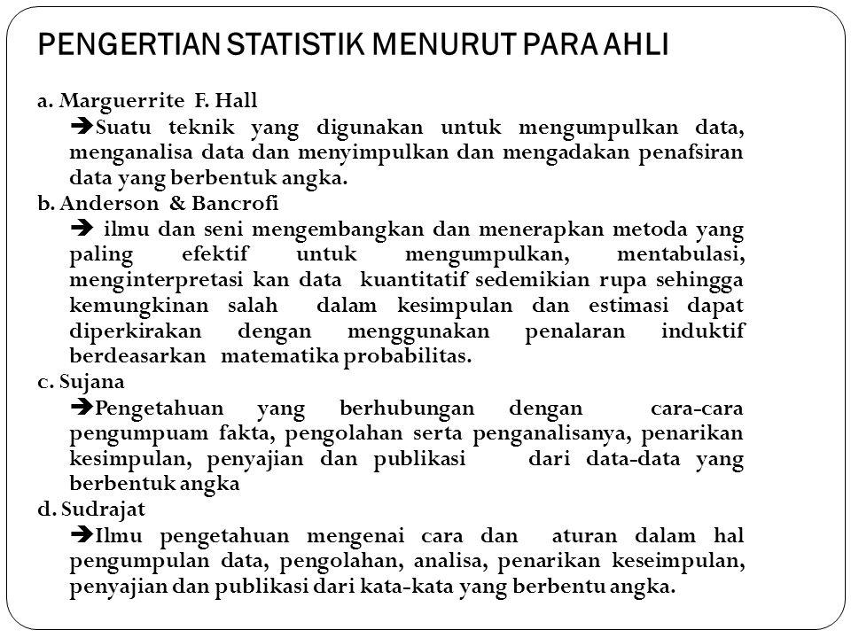 PENGERTIAN STATISTIK MENURUT PARA AHLI