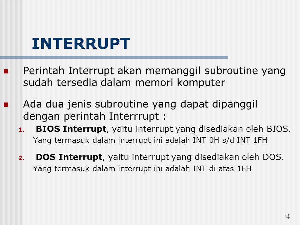 INTERRUPT Perintah Interrupt akan memanggil subroutine yang sudah tersedia dalam memori komputer.