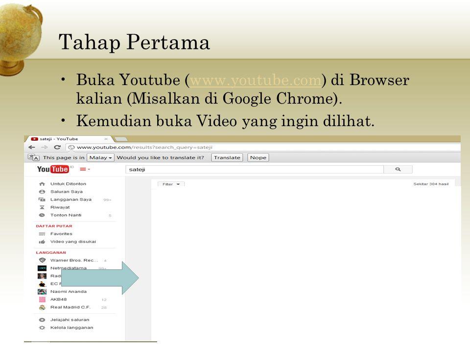 Tahap Pertama Buka Youtube (www.youtube.com) di Browser kalian (Misalkan di Google Chrome). Kemudian buka Video yang ingin dilihat.