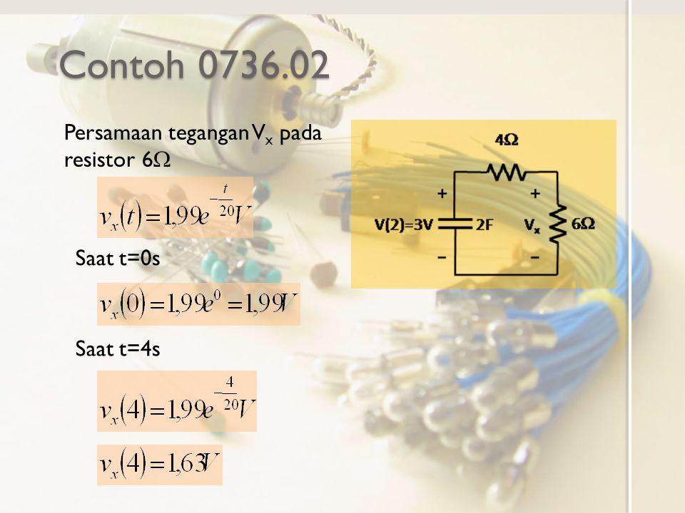 Contoh 0736.02 Persamaan tegangan Vx pada resistor 6W Saat t=0s