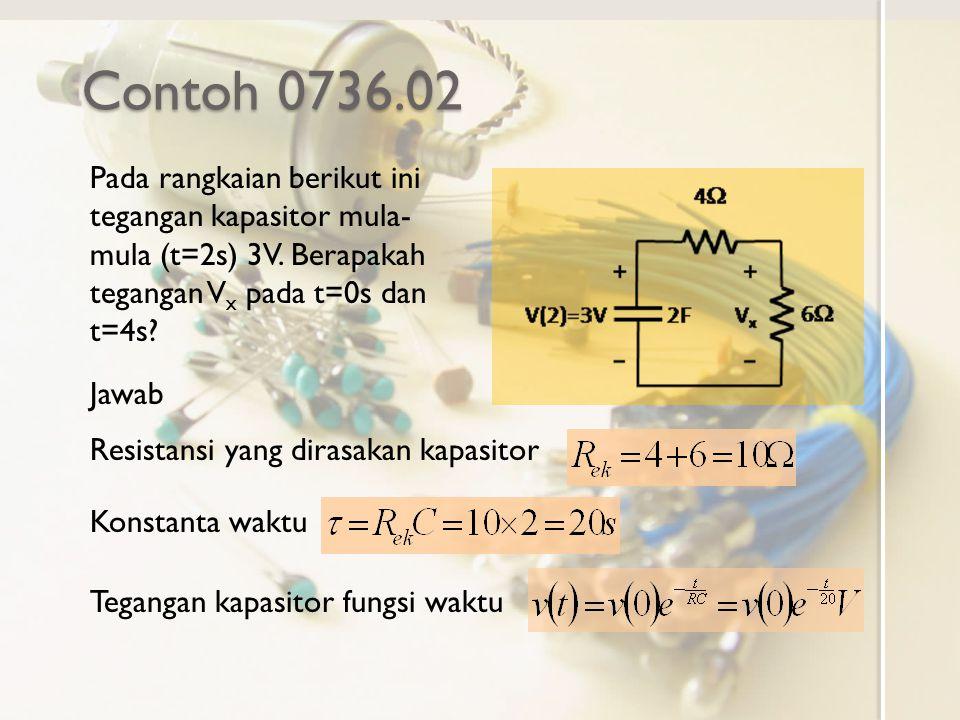 Contoh 0736.02 Pada rangkaian berikut ini tegangan kapasitor mula-mula (t=2s) 3V. Berapakah tegangan Vx pada t=0s dan t=4s