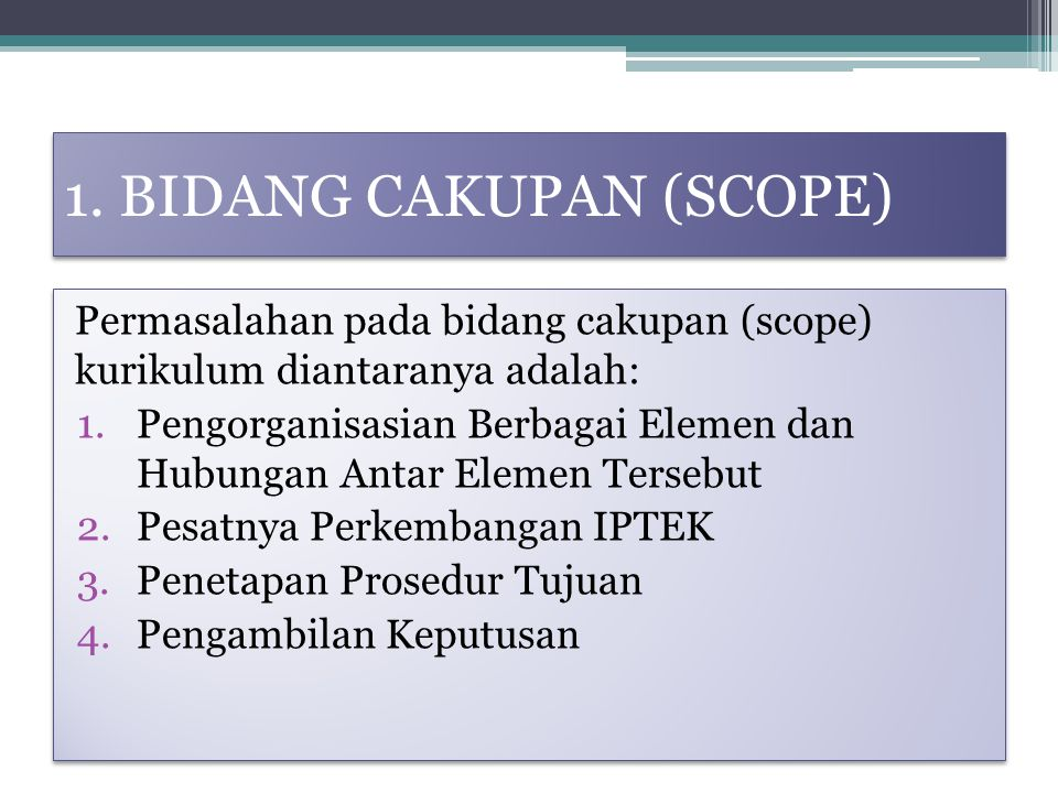 1. BIDANG CAKUPAN (SCOPE)