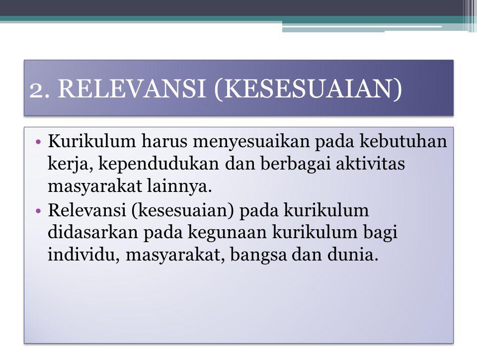 2. RELEVANSI (KESESUAIAN)