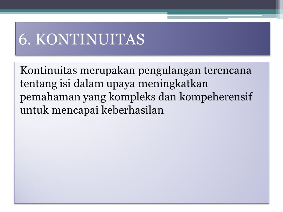6. KONTINUITAS